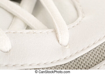 Close up on the laces of a basketball shoe