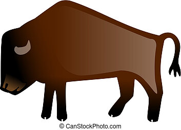 American Bison - stylized vector illustration of an American...