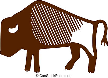 Bison - stylized vector illustration of an American Bison