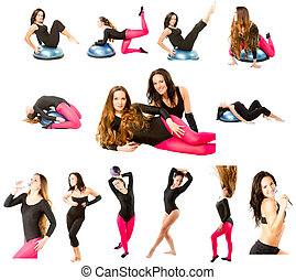 collection of two fitness women make stretch on yoga and...