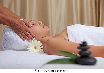 relaxation, woman getting relaxing spa head massage