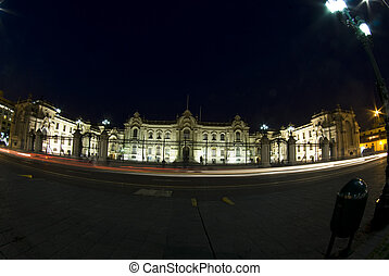 presidential palace at night lima peru - presidential palace...
