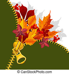Autumn background with zipper and bright leaves. There is a...