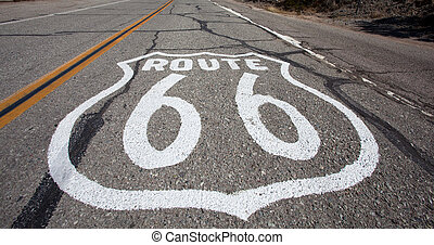 Old Route 66 shield paintd on road