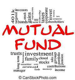 Mutual Fund Word Cloud Concept in red & black with great...