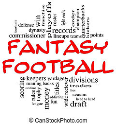 Fantasy Football Word Cloud Concept in Red and Black -...