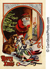 Vintage Christmas card of Santa Claus with gifts;checking to...