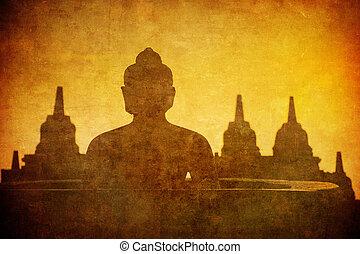 Vintage image of Buddha statue at Borobudur temple, Java, Indonesia