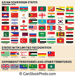 Flags of Asian States - Vector set of Flags of Asian...