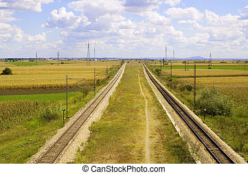Rail road track - Panorama with railroad track in Vojvodina,...