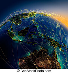 Main air routes in Australia and Oceania - Highly detailed...