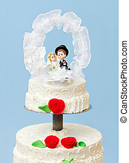 Wedding cake topper - Groom and bride wedding cake topper on...