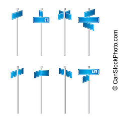 Traffic signs - illustration of blue traffic signs isolated...