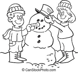Kids building a snowman - Black and white illustration of...