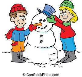 Kids building a snowman - Cartoon illustration of two...