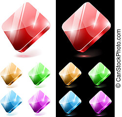 Diamond shaped 3D glass web buttons isolated on white and black background.