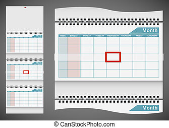 Blank standard wall calendar template isolated on gray background. EPS10 file.