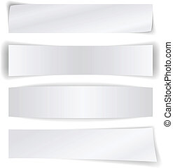 Set of blank paper banners isolated on white background