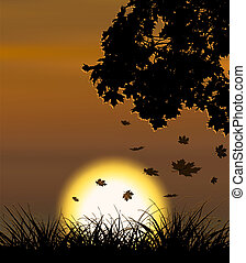 Autumn sunset vector background with falling maple leaves.