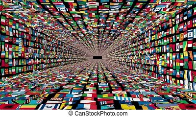Tunnel of World Flags, loop