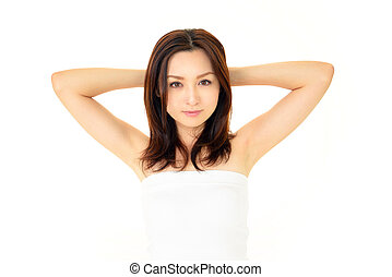 The beautiful Oriental woman who poses