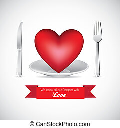 I love food - illustration of heart and covered dish, I love...