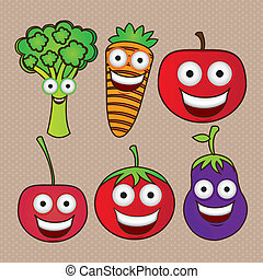 Cartoon fruits with big eyes and big smile, vector...