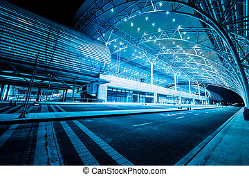 modern railway station in night - modenrn railway station at...