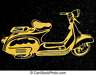 The Carving motorcycle on black granite background