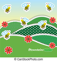 landscape with flowers and bees