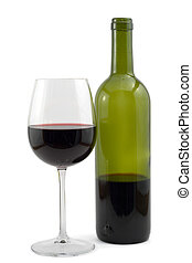 red wine bottle and wine glass, shot on white