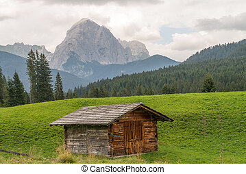 Typical Wooden Home of Dolomites - Italian Mountains