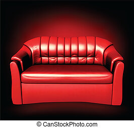 Red leather sofa. Vector