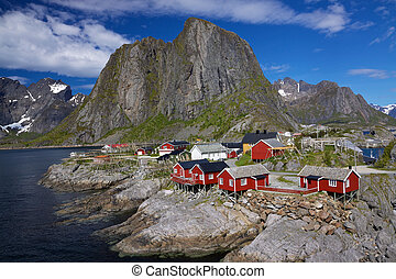 Fishing village - Picturesque fishing village by fjord on...