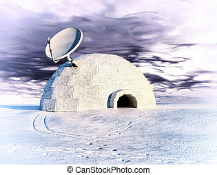 satellite and igloo - satellite dish and igloo in winter...