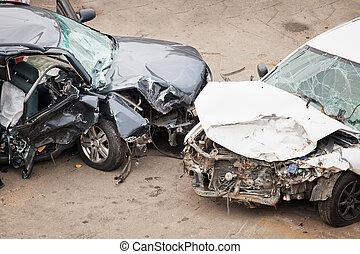 crashed cars  - The image of crashed cars