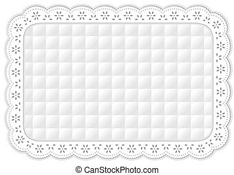 Place Mat, Quilted Lace Embroidery - Decorative quilted...