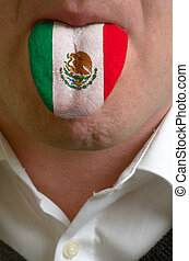 man wit open mouth spreading tongue colored in mexico flag...