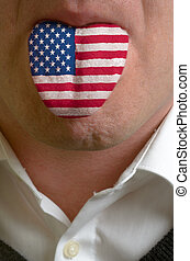 man wit open mouth spreading tongue colored in america flag...
