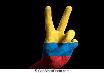 colombia national flag two finger up gesture for victory and...