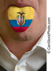 man with open mouth spreading tongue colored in ecuador flag...