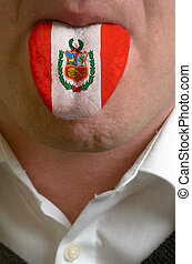 man wit open mouth spreading tongue colored in peru flag as...