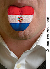 man wit open mouth spreading tongue colored in paraguay flag...