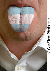man wit open mouth spreading tongue colored in argentina...