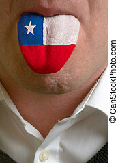 man wit open mouth spreading tongue colored in chile flag as...