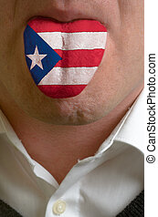 man wit open mouth spreading tongue colored in puerto rico...
