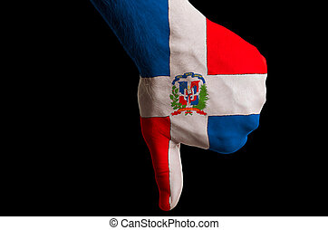 Hand with thumb down gesture in colored dominican national...