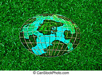 The Ceramic of whole world on green grass background