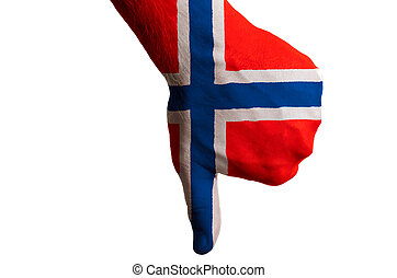 Hand with thumb down gesture in colored norway national flag...