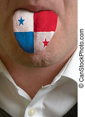 man wit open mouth spreading tongue colored in panama flag...